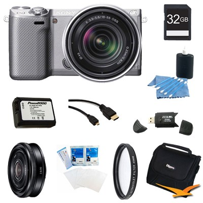 NEX-5RK/S Compact Camera with 18-55 Lens 32GB 20mm f 2.8 Lens Bundle