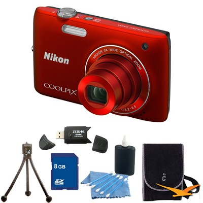 COOLPIX S4100 14MP Red Digital Camera 8GB Bundle
