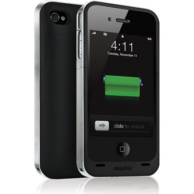 Juice Pack Air Case and Rechargable Battery for iPhone 4 Verizon or ATT (Black)