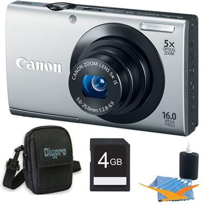 PowerShot A3400 IS 16MP Silver Digital Camera 4GB Bundle