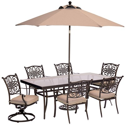 Traditions 7PC Dining:4 Chrs 2 Swvl Chrs 42 x84  Glass TblUmbStand