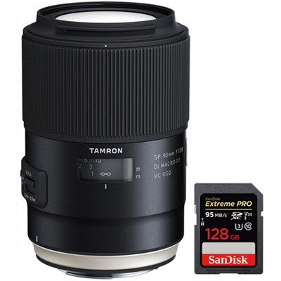 SP 90mm f/2.8 Di VC USD 1:1 Macro Lens for Canon (F017) with 128GB Card
