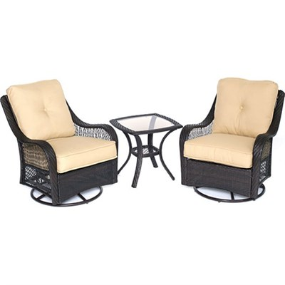 Orleans 3pc Seating Set: 2 Swivel Rockers 1 Side Table