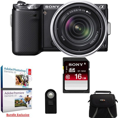 NEX-5N 16 Megapixel Compact SLR Camera w/ 18-55mm Lens (Black) Adobe Bundle