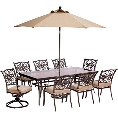 Traditions 9-Piece Dining Set in Tan - TRADDN9PCSW2G-SU