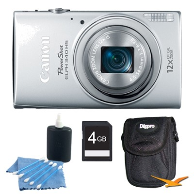 PowerShot ELPH 340 HS 16MP 12x Zoom 3-inch LCD Silver Kit