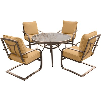 Summer Nights 5PC Dining Set: 4 Aluminum Spring Chrs with 48  Glass Tbl