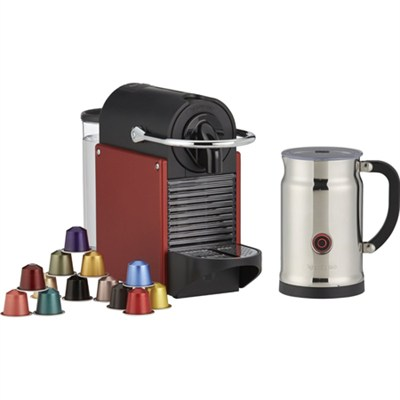 D60-US-DR-NE Pixie Espresso Maker with Aeroccino Plus Milk Frother, Dark Red
