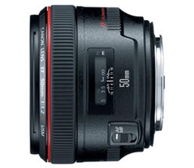 EF 50mm f / 1.2L USM Lens with Case LP1214 and Hood ES-78