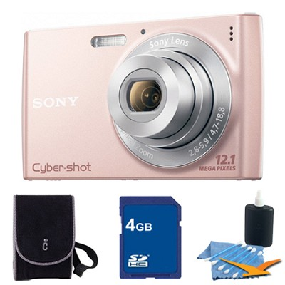 Cyber-shot DSC-W510 Pink Digital Camera 4GB Bundle