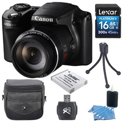 PowerShot SX510 HS 12.1 MP Digital Camera 16GB Bundle