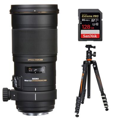 180mm F2.8 EX APO DG HSM OS Macro f/ Canon DSLR + Travel Tripod Bundle