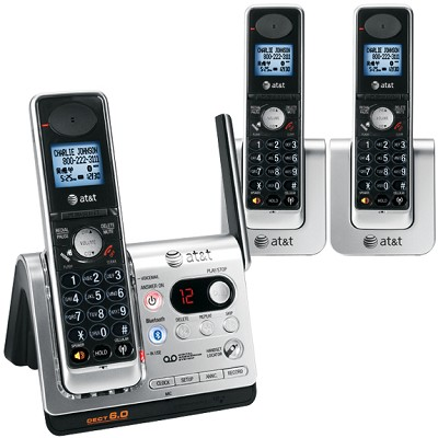 DECT 6.0 Three Handset Bluetooth Cordless Telephone System