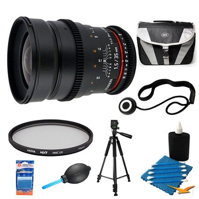 35mm T1.5 Aspherical Wide Angle Cine Lens and Filter Bundle for Canon