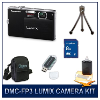 DMC-FP3K LUMIX 14.1 MP Digital Camera (Black), 8GB SD Card, and Camera Case
