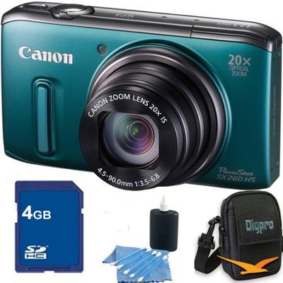 PowerShot SX260 HS Green Digital Camera 4GB Bundle