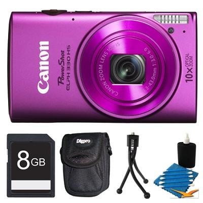 Powershot ELPH 330 HS Pink Digital Camera 8GB Bundle