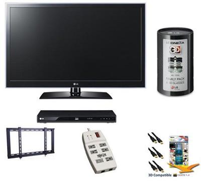 55LW6500 - 55 Inch 3D 1080P 240Hz LED Smart TV Bundle