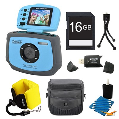 Xtreme C4WP 12 MP Waterproof Blue Digital Camera 16GB Bundle