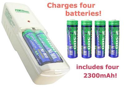 Standard Charger and 4 AA 2300mAh Ni-MH batteries