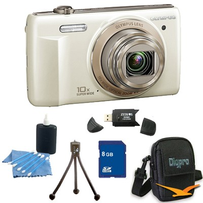 8 GB Kit VR-340 16MP 10x Opt Zoom 3-inch LCD Digital Camera - White
