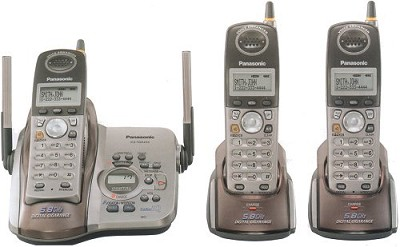 KX-TG5433M 3-Handset Gigarange 5.8 GHz Cordless Phone Digital Answering Silver