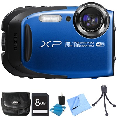 FinePix XP80 16MP Waterproof Digital Camera Blue 8GB Bundle