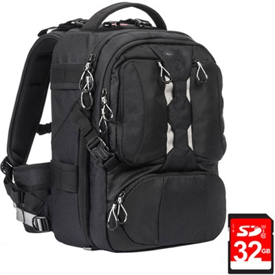 ANVIL Slim 11 Photo DSLR Camera and Laptop Backpack (Black) + 32GB Memory Card