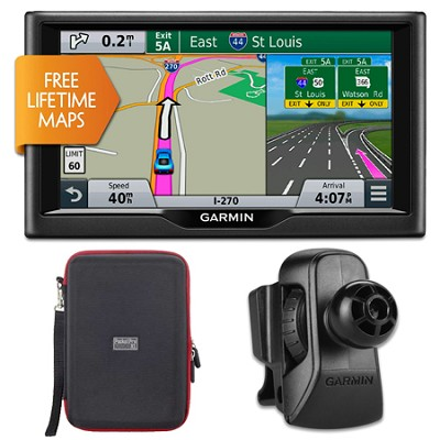 nuvi 68LM 6` Essential Series 2015 GPS w Lifetime Maps Vent Mount & Case Bundle