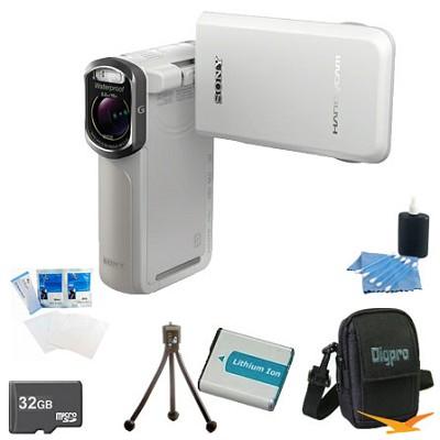 HDR-GW77V/W HD 20.4 MP Waterproof, Shockproof, Dustproof Camcorder (White)Bundle