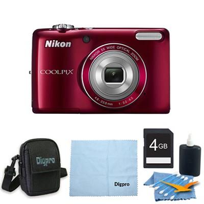 COOLPIX L26 16.1 MP 3.0-inch LCD Digital Camera 4GB Red Bundle