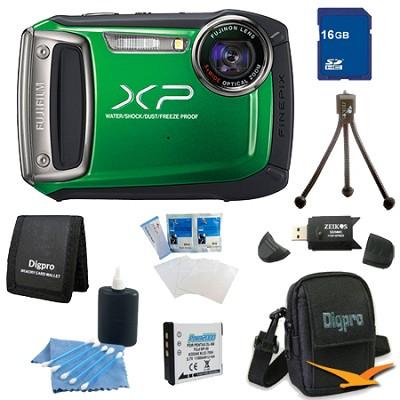 Finepix XP100 14MP CMOS Digital Camera 16 GB Bundle (Green)
