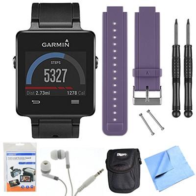 vivoactive GPS Smartwatch - Black (010-01297-00) Purple Replacement Band Bundle