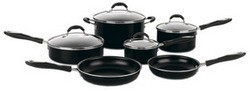 Advantage Nonstick 10-Piece Cookware Set, Black