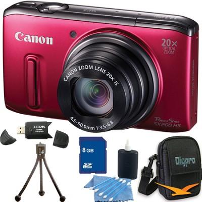 PowerShot SX260 HS Red Digital Camera 8GB Bundle