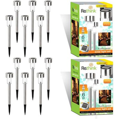 2-Pack of Six Outdoor Solar Light Set - 12 Total (155002)