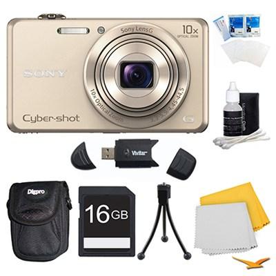 DSC-WX220 Gold Digital Camera, 16GB Card, and Case Bundle