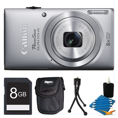 Powershot ELPH 115 IS Silver Digital Camera 8GB Bundle