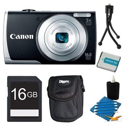 PowerShot A2600 Black 16MP Digital Camera 16GB Bundle