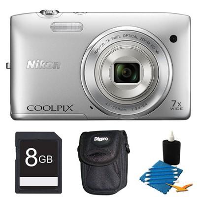 COOLPIX S3500 Silver Digital Camera 8GB Bundle