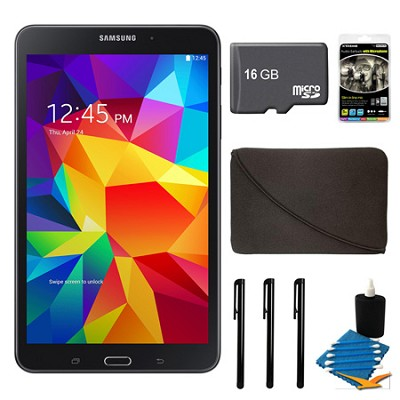 Galaxy Tab 4 Black 16GB 8` Tablet, 16GB Card, and Case Bundle