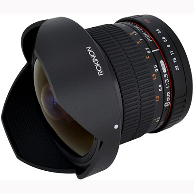 8mm f/3.5 HD Fisheye Lens with Removeable Hood for Canon DSLR (HD8M-C)OPEN BOX