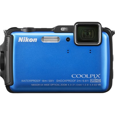 COOLPIX AW120 16MP 1080p Waterproof Shockproof Freezeproof Blue Digital Camera