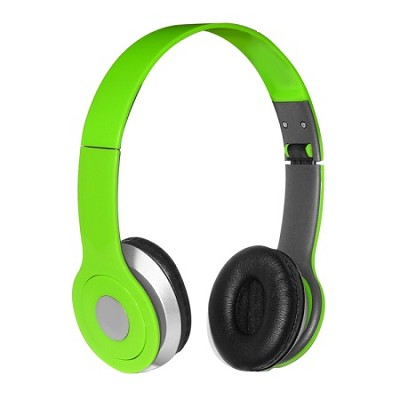 Foldable Over-the-head Headsets with Built-in-mic in Green