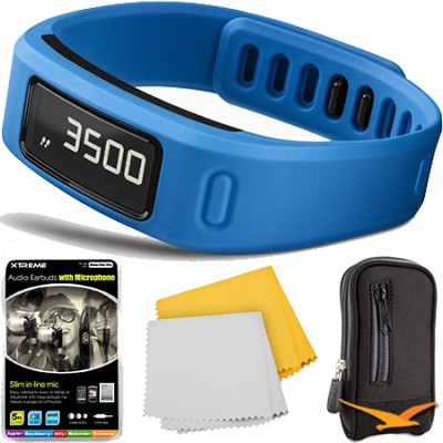 Vivofit Fitness Band Bundle with Heart Rate Monitor (Blue) Plus Accessory Bundle