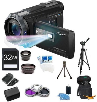 HDR-PJ760V 96GB HD Projector Camcorder 24.1 MP still with Geotagging Bundle