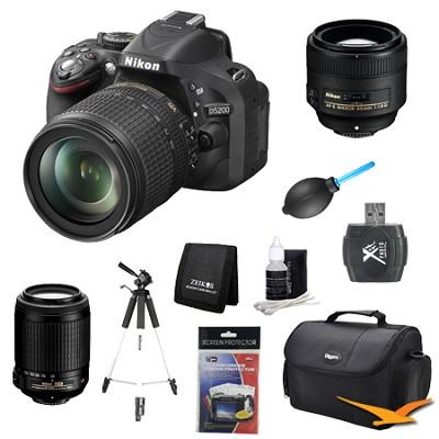 D5200 DX-Format Digital SLR with 18-105mm, 55-200mm and 85mm Lens Kit