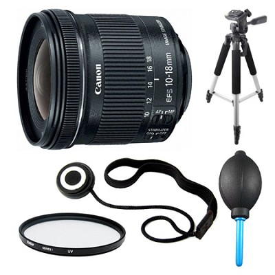 EF-S 10-18mm F4.5-5.6 IS STM Lens, Filter, and Tripod Bundle