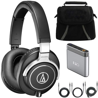 ATH-M70x Professional Monitor Headphones - Black Deluxe Case & Amplifier Bundle