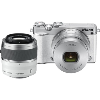 1 J5 Digital Camera w/ NIKKOR 10-30mm Zoom Lens & NIKKOR 30-110mm Lens - White